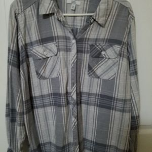 Grey and Purple Plaid XXL Shirt